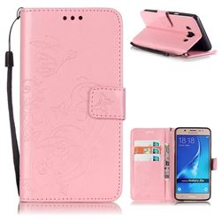 Embossing Butterfly Flower Leather Wallet Case for Samsung Galaxy J5 2016 J510 - Pink