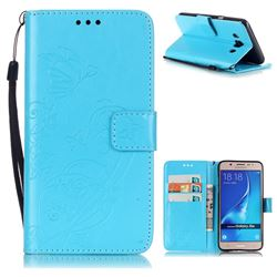 Embossing Butterfly Flower Leather Wallet Case for Samsung Galaxy J5 2016 J510 - Blue