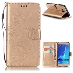 Embossing Butterfly Flower Leather Wallet Case for Samsung Galaxy J5 2016 J510 - Champagne