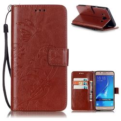 Embossing Butterfly Flower Leather Wallet Case for Samsung Galaxy J5 2016 J510 - Brown