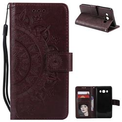 Intricate Embossing Datura Leather Wallet Case for Samsung Galaxy J5 2016 J510 - Brown