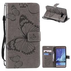 Embossing 3D Butterfly Leather Wallet Case for Samsung Galaxy J5 2016 J510 - Gray