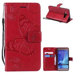 Embossing 3D Butterfly Leather Wallet Case for Samsung Galaxy J5 2016 J510 - Red