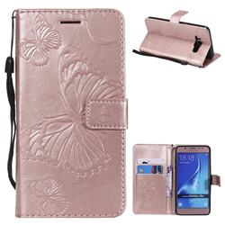 Embossing 3D Butterfly Leather Wallet Case for Samsung Galaxy J5 2016 J510 - Rose Gold