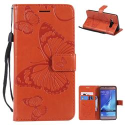 Embossing 3D Butterfly Leather Wallet Case for Samsung Galaxy J5 2016 J510 - Orange