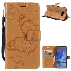 Embossing 3D Butterfly Leather Wallet Case for Samsung Galaxy J5 2016 J510 - Yellow