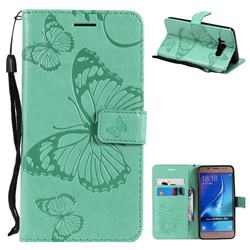 Embossing 3D Butterfly Leather Wallet Case for Samsung Galaxy J5 2016 J510 - Green