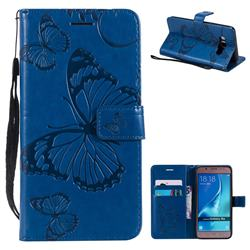 Embossing 3D Butterfly Leather Wallet Case for Samsung Galaxy J5 2016 J510 - Blue