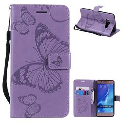 Embossing 3D Butterfly Leather Wallet Case for Samsung Galaxy J5 2016 J510 - Purple