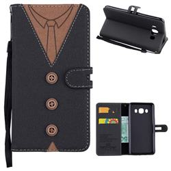 Mens Button Clothing Style Leather Wallet Phone Case for Samsung Galaxy J5 2016 J510 - Black
