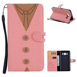 Mens Button Clothing Style Leather Wallet Phone Case for Samsung Galaxy J5 2016 J510 - Pink