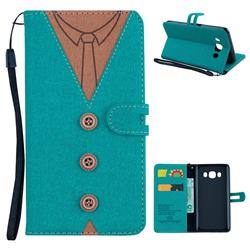 Mens Button Clothing Style Leather Wallet Phone Case for Samsung Galaxy J5 2016 J510 - Green