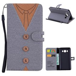 Mens Button Clothing Style Leather Wallet Phone Case for Samsung Galaxy J5 2016 J510 - Gray
