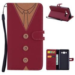 Mens Button Clothing Style Leather Wallet Phone Case for Samsung Galaxy J5 2016 J510 - Red
