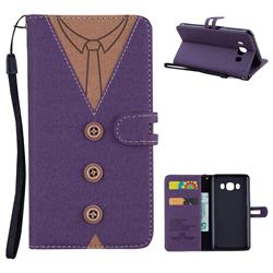 Mens Button Clothing Style Leather Wallet Phone Case for Samsung Galaxy J5 2016 J510 - Purple