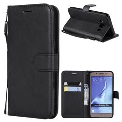 Retro Greek Classic Smooth PU Leather Wallet Phone Case for Samsung Galaxy J5 2016 J510 - Black