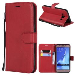 Retro Greek Classic Smooth PU Leather Wallet Phone Case for Samsung Galaxy J5 2016 J510 - Red