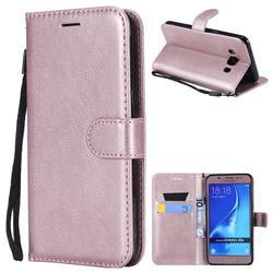 Retro Greek Classic Smooth PU Leather Wallet Phone Case for Samsung Galaxy J5 2016 J510 - Rose Gold