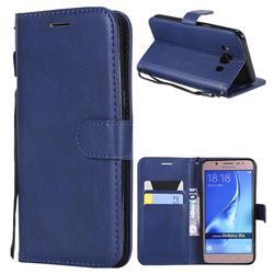 Retro Greek Classic Smooth PU Leather Wallet Phone Case for Samsung Galaxy J5 2016 J510 - Blue