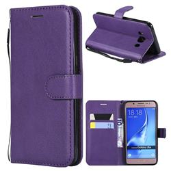Retro Greek Classic Smooth PU Leather Wallet Phone Case for Samsung Galaxy J5 2016 J510 - Purple