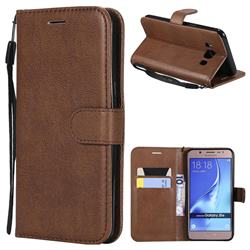 Retro Greek Classic Smooth PU Leather Wallet Phone Case for Samsung Galaxy J5 2016 J510 - Brown