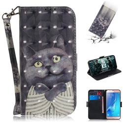 Cat Embrace 3D Painted Leather Wallet Phone Case for Samsung Galaxy J5 2016 J510