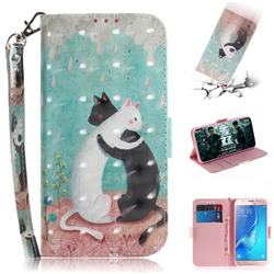 Black and White Cat 3D Painted Leather Wallet Phone Case for Samsung Galaxy J5 2016 J510