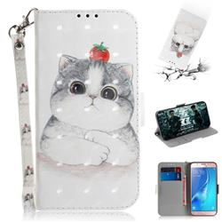 Cute Tomato Cat 3D Painted Leather Wallet Phone Case for Samsung Galaxy J5 2016 J510