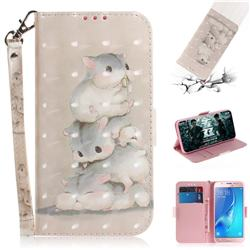 Three Squirrels 3D Painted Leather Wallet Phone Case for Samsung Galaxy J5 2016 J510