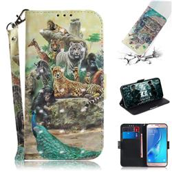 Beast Zoo 3D Painted Leather Wallet Phone Case for Samsung Galaxy J5 2016 J510