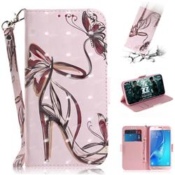 Butterfly High Heels 3D Painted Leather Wallet Phone Case for Samsung Galaxy J5 2016 J510