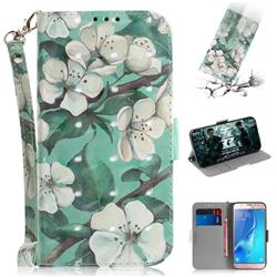 Watercolor Flower 3D Painted Leather Wallet Phone Case for Samsung Galaxy J5 2016 J510