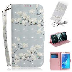 Magnolia Flower 3D Painted Leather Wallet Phone Case for Samsung Galaxy J5 2016 J510