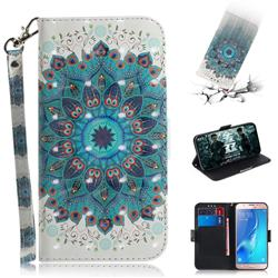 Peacock Mandala 3D Painted Leather Wallet Phone Case for Samsung Galaxy J5 2016 J510