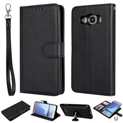 Retro Greek Detachable Magnetic PU Leather Wallet Phone Case for Samsung Galaxy J5 2016 J510 - Black