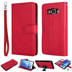 Retro Greek Detachable Magnetic PU Leather Wallet Phone Case for Samsung Galaxy J5 2016 J510 - Red