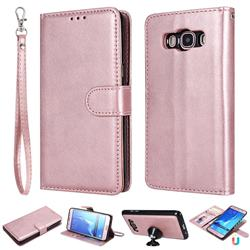 Retro Greek Detachable Magnetic PU Leather Wallet Phone Case for Samsung Galaxy J5 2016 J510 - Rose Gold