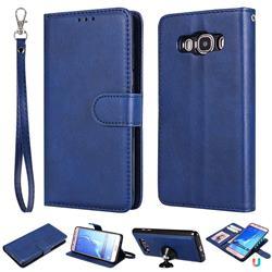 Retro Greek Detachable Magnetic PU Leather Wallet Phone Case for Samsung Galaxy J5 2016 J510 - Blue