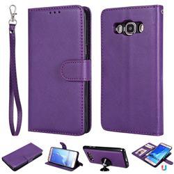 Retro Greek Detachable Magnetic PU Leather Wallet Phone Case for Samsung Galaxy J5 2016 J510 - Purple