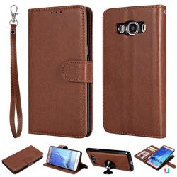 Retro Greek Detachable Magnetic PU Leather Wallet Phone Case for Samsung Galaxy J5 2016 J510 - Brown