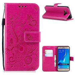 Intricate Embossing Butterfly Circle Leather Wallet Case for Samsung Galaxy J5 2016 J510 - Red