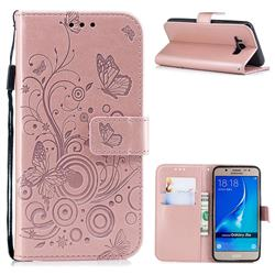 Intricate Embossing Butterfly Circle Leather Wallet Case for Samsung Galaxy J5 2016 J510 - Rose Gold