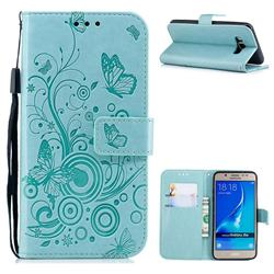 Intricate Embossing Butterfly Circle Leather Wallet Case for Samsung Galaxy J5 2016 J510 - Cyan