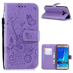 Intricate Embossing Butterfly Circle Leather Wallet Case for Samsung Galaxy J5 2016 J510 - Purple