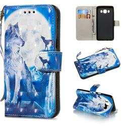 Ice Wolf 3D Painted Leather Wallet Phone Case for Samsung Galaxy J5 2016 J510