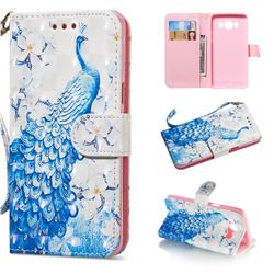 Blue Peacock 3D Painted Leather Wallet Phone Case for Samsung Galaxy J5 2016 J510