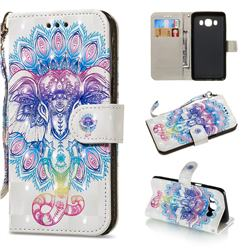 Colorful Elephant 3D Painted Leather Wallet Phone Case for Samsung Galaxy J5 2016 J510