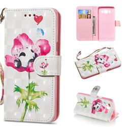 Flower Panda 3D Painted Leather Wallet Phone Case for Samsung Galaxy J5 2016 J510