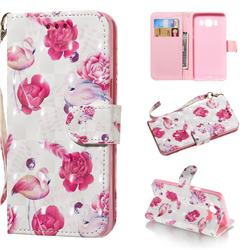 Flamingo 3D Painted Leather Wallet Phone Case for Samsung Galaxy J5 2016 J510