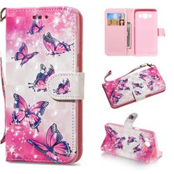 Pink Butterfly 3D Painted Leather Wallet Phone Case for Samsung Galaxy J5 2016 J510